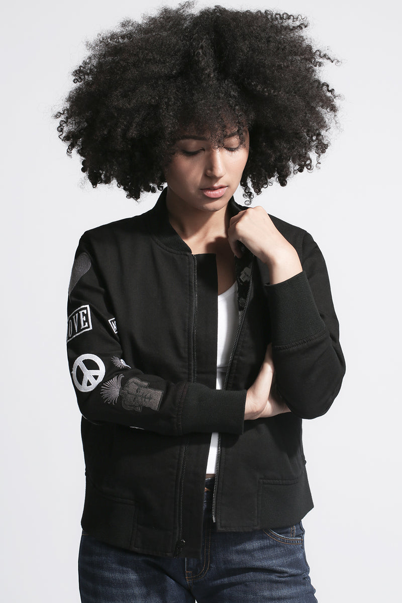 BOMBER JACKET with Embroidered Arm in Black - Sagjol
