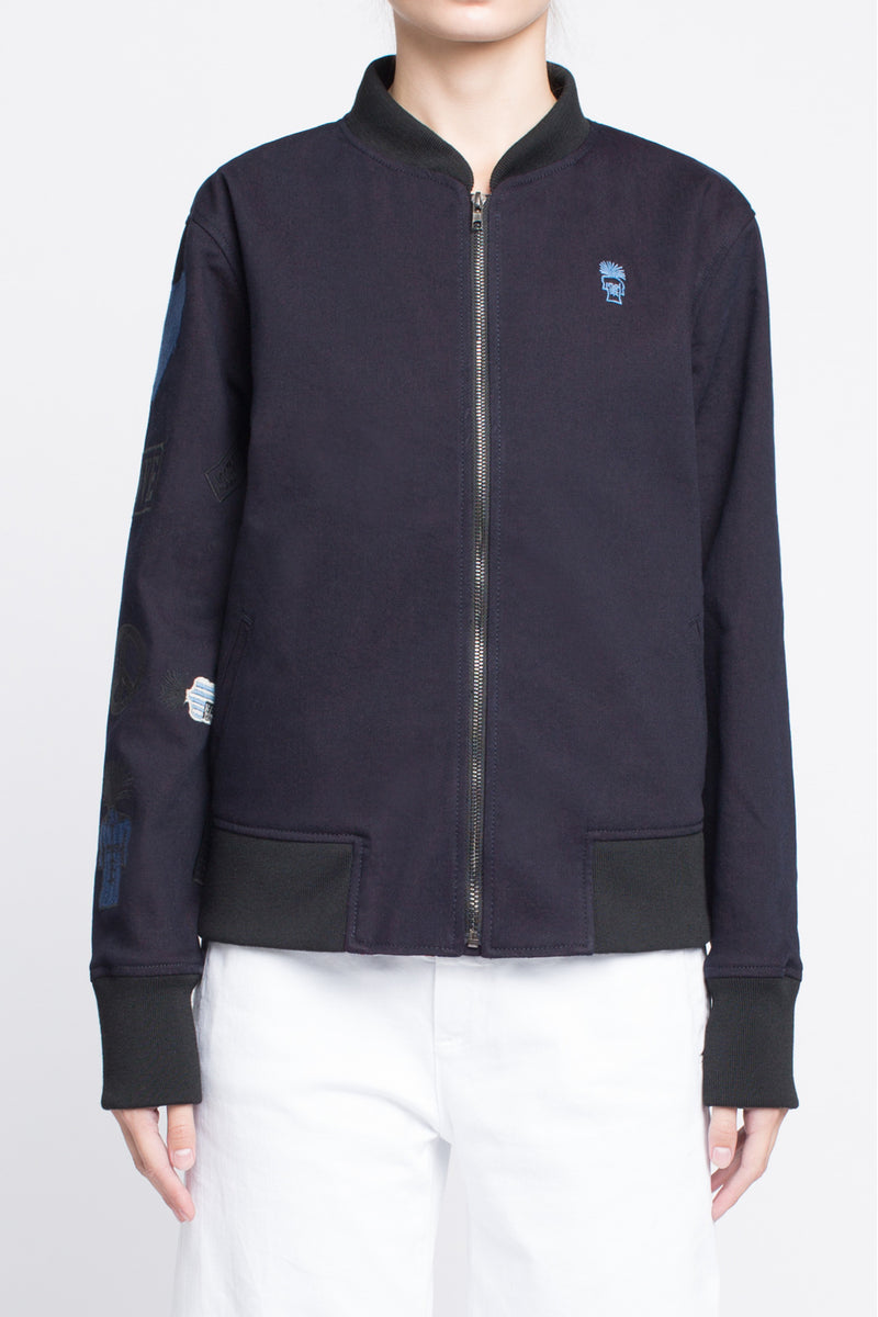 BOMBER JACKET with Embroidered Arm in Midnight Blue - Sagjol