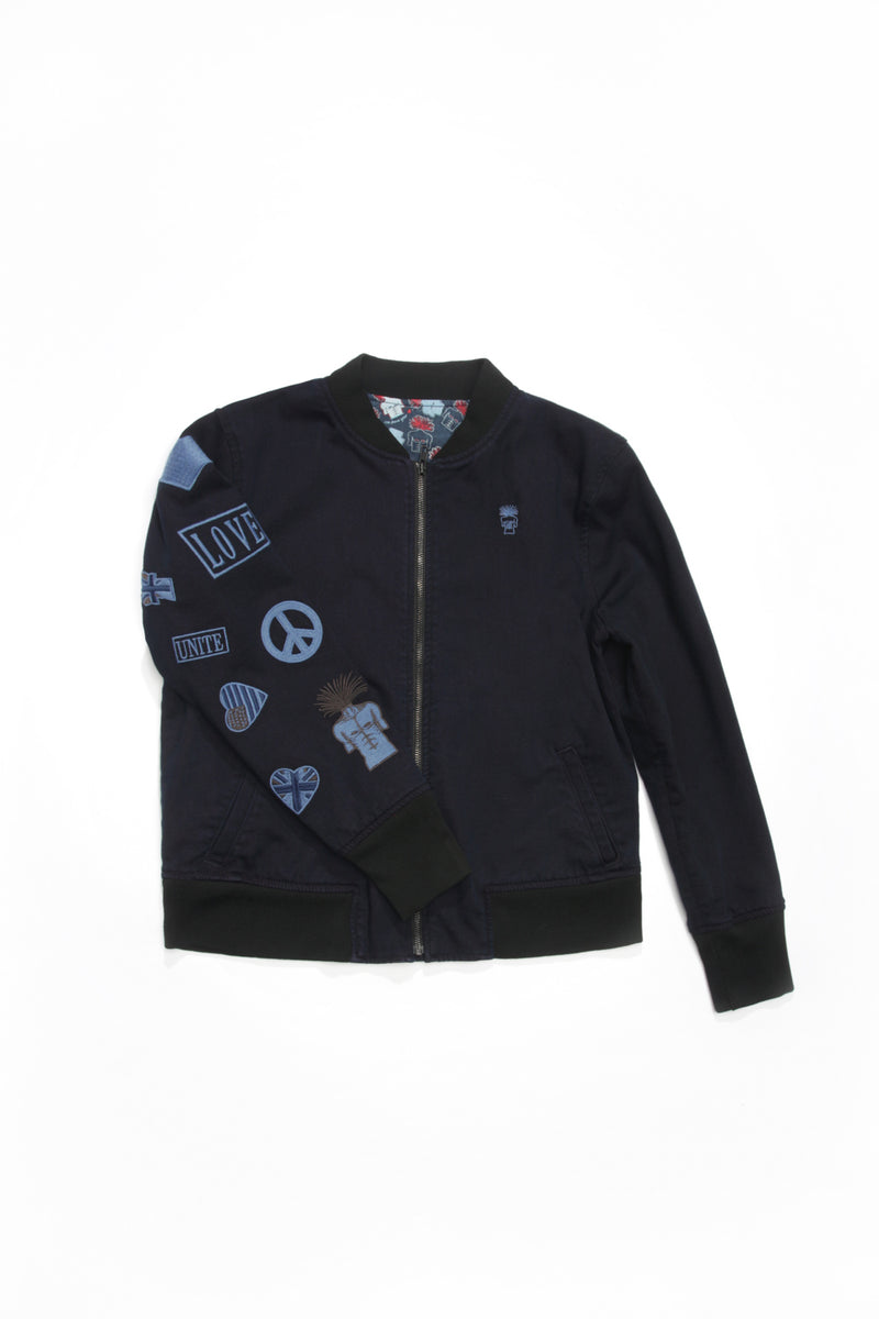 BOMBER JACKET with Embroidered Arm in Midnight Blue
