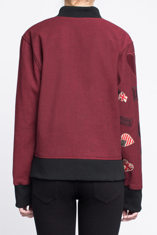 BOMBER JACKET with Embroidered Arm in Red