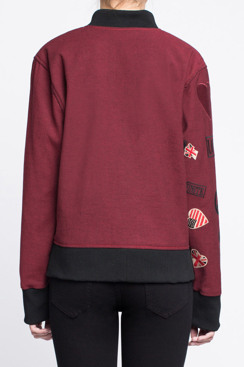 BOMBER JACKET with Embroidered Arm in Red - Sagjol
