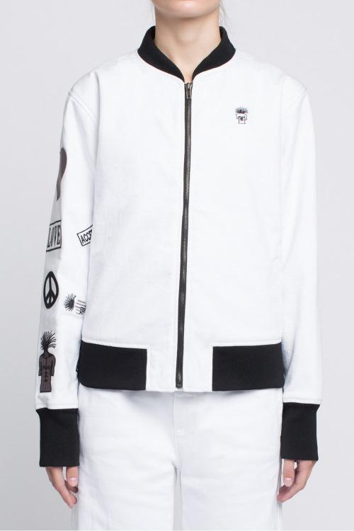 BOMBER JACKET with Embroidered Arm in White - Sagjol