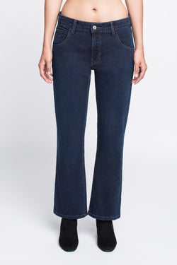 PATRICE - Bootcut Crop Jean in Midnight Blue