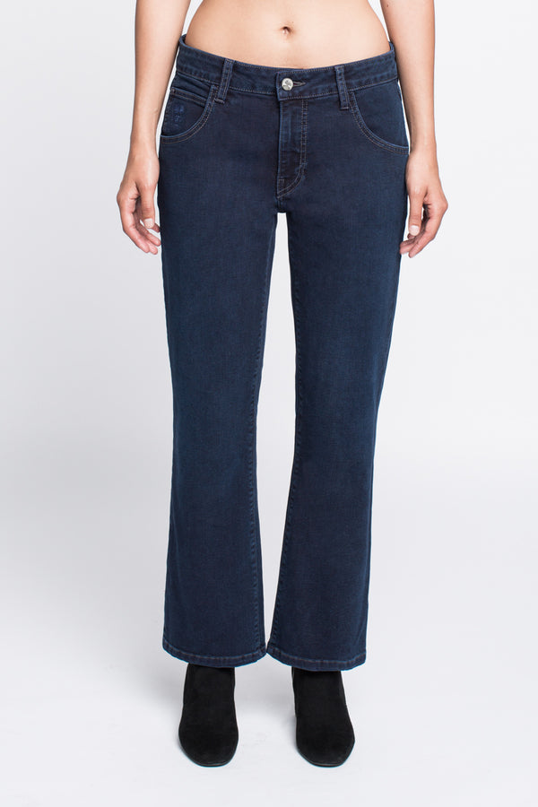 Bootcut Crop Jean in Midnight Blue