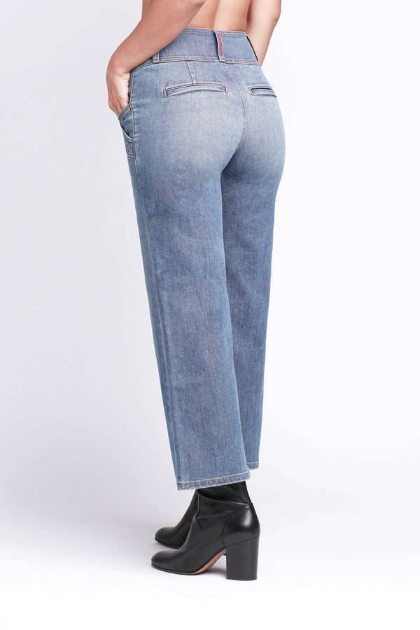 SOPHIE - Crop Jean with Pocket Detail and Exposed Button Fly - Sagjol