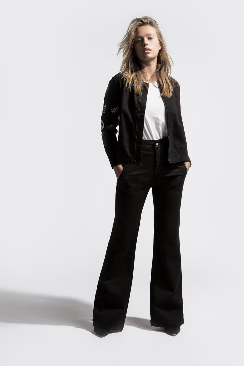 High Waisted Flare leg Pant in Black