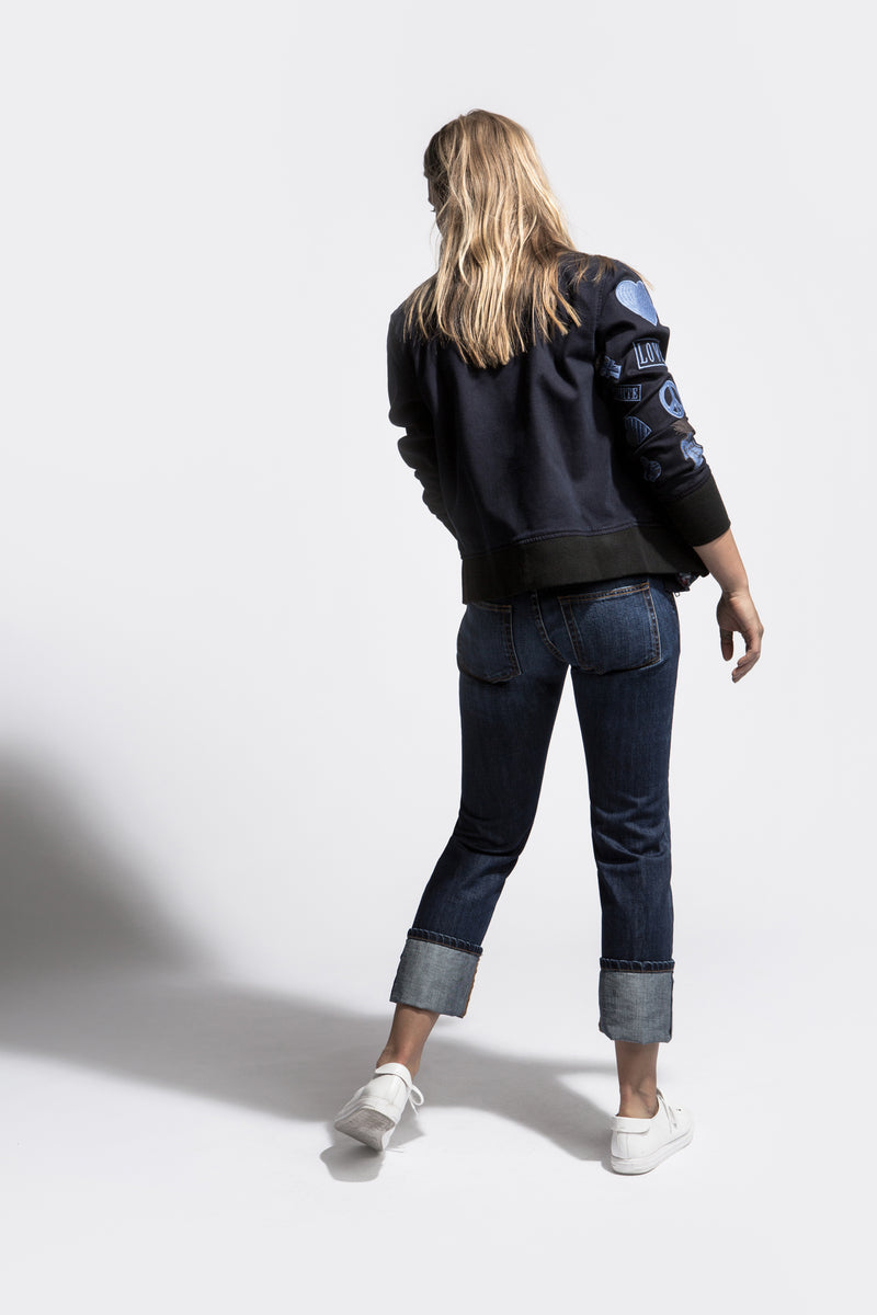 BOMBER JACKET with embroidered arm in Blue