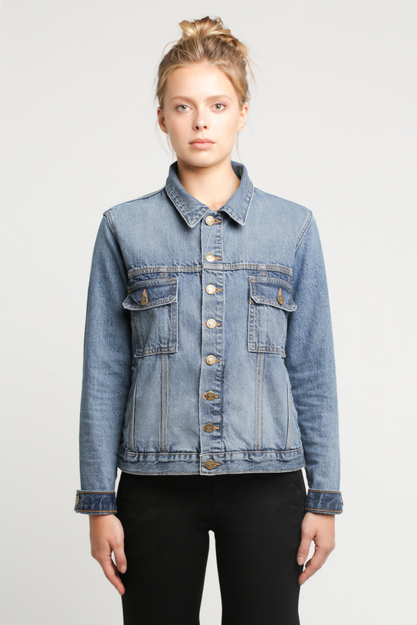DENIM JACKET with Turned-Up Cuff - Sagjol
