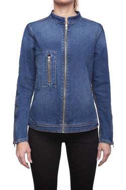 DENIM JACKET with Zip Detail