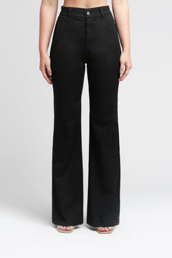 High Waist Flare Leg Pant in Black - Sagjol