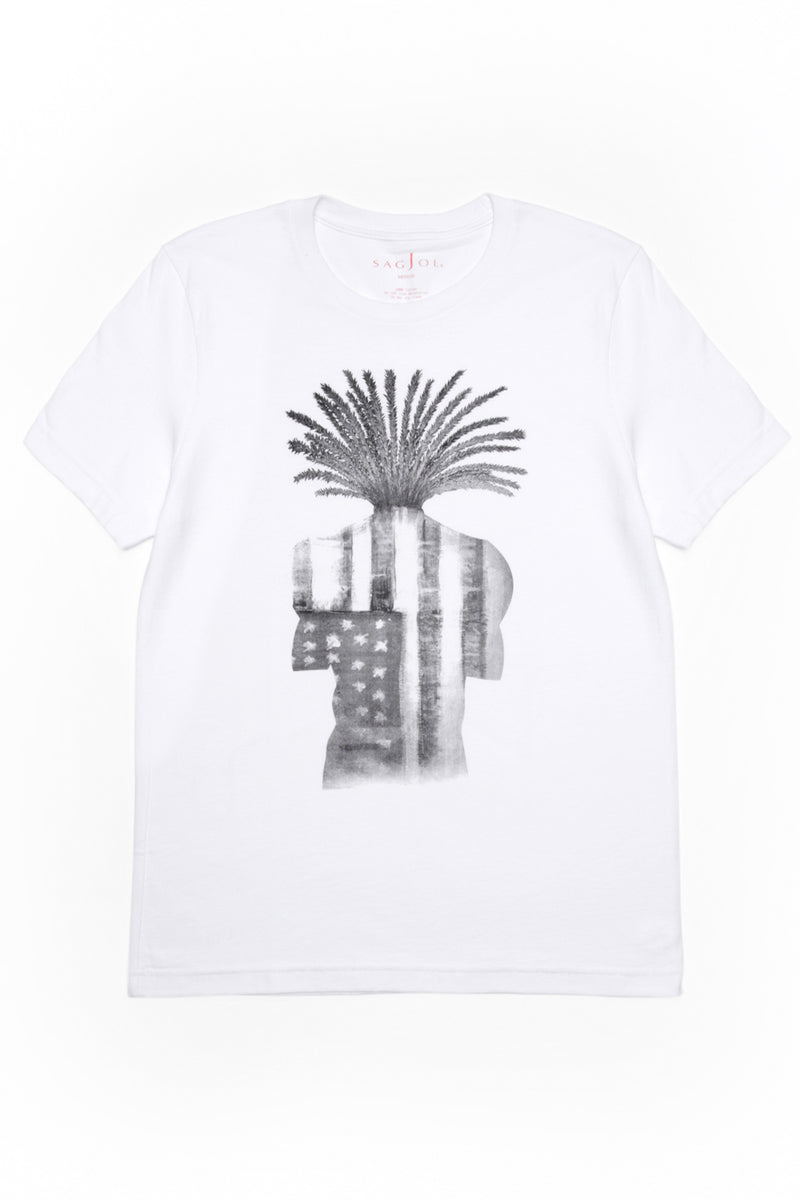 Unisex Graphic Tee - White with Grey - Sagjol