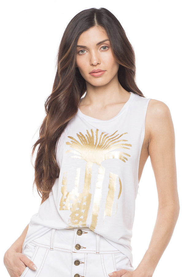 Muscle Tee - White and Gold - Sagjol