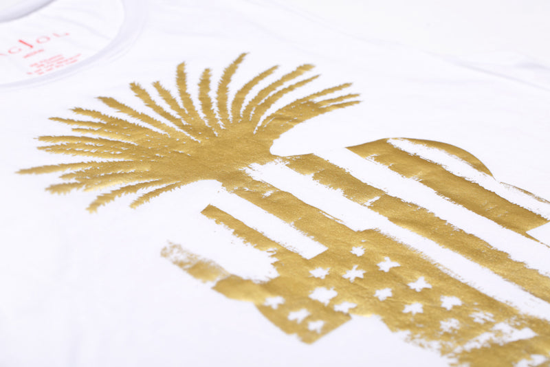 Muscle Tee - White and Gold