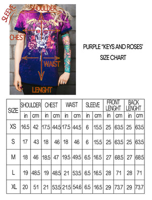 KEYS AND ROSES Purple/Pink Shirt UNISEX