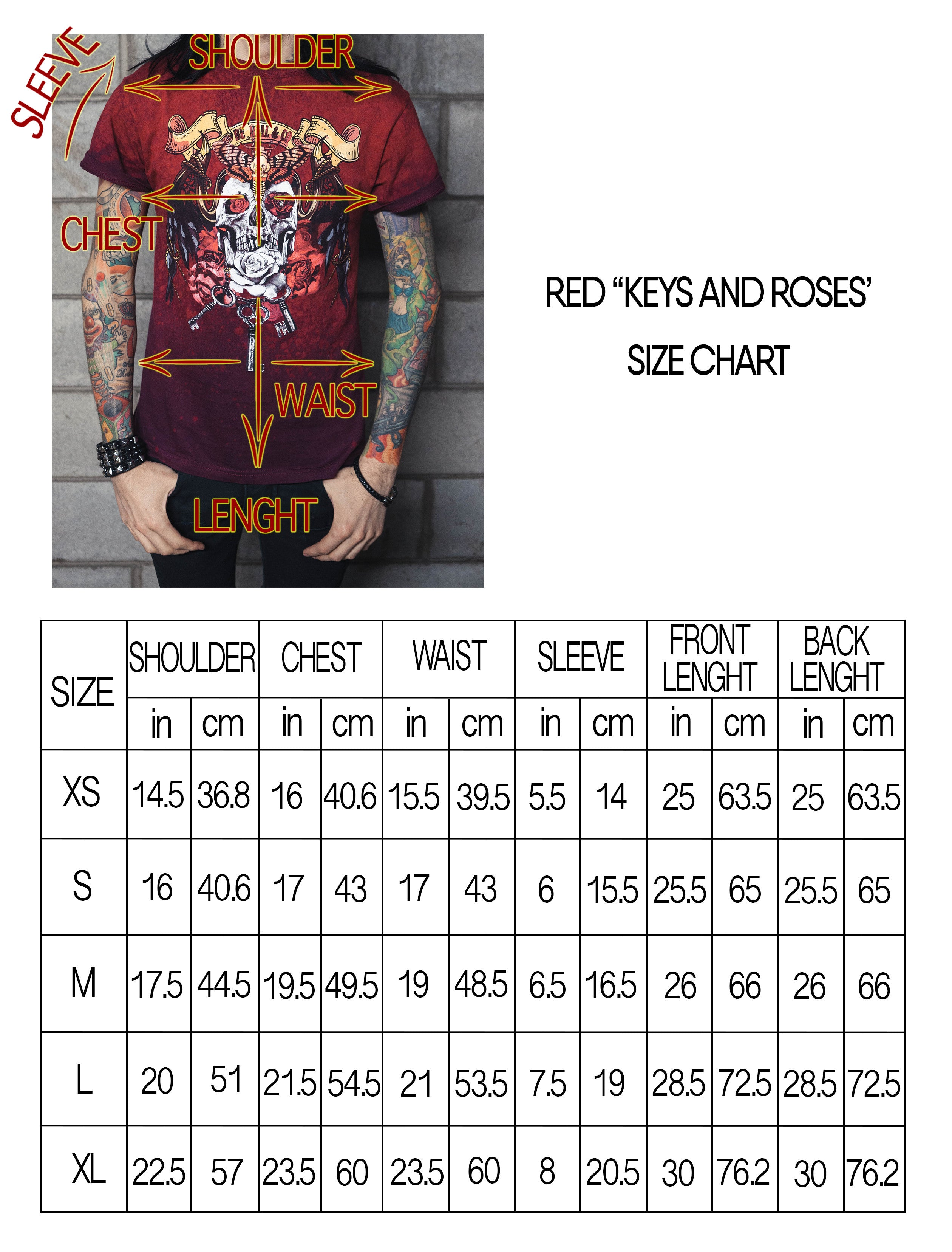 KEYS AND ROSES Red/Maroon Shirt UNISEX