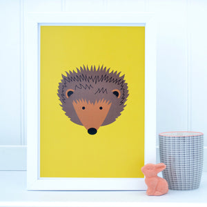 Hedgehog on yellow A4 print - Tommy & Lottie
