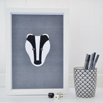 Badger on grey A4 print - Tommy & Lottie