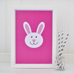 Bunny on pink A4 print - Tommy & Lottie