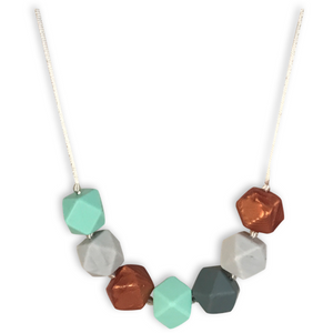 Aurora Marble + Rose Gold Teething Necklace - Mama + Belle®