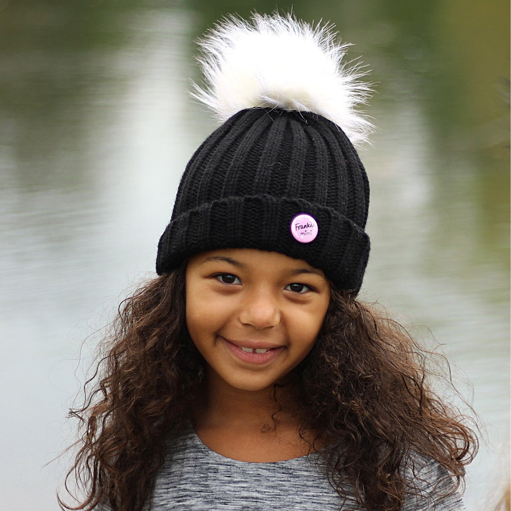 Black Beanie Hat With Removable Pom Pom - Frankie Mini