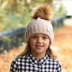 Cream Beanie Hat with Removable pom pom - Frankie Mini