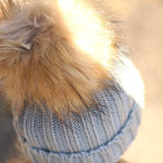 Grey Beanie Hat With Removable Pom Pom - Frankie Mini
