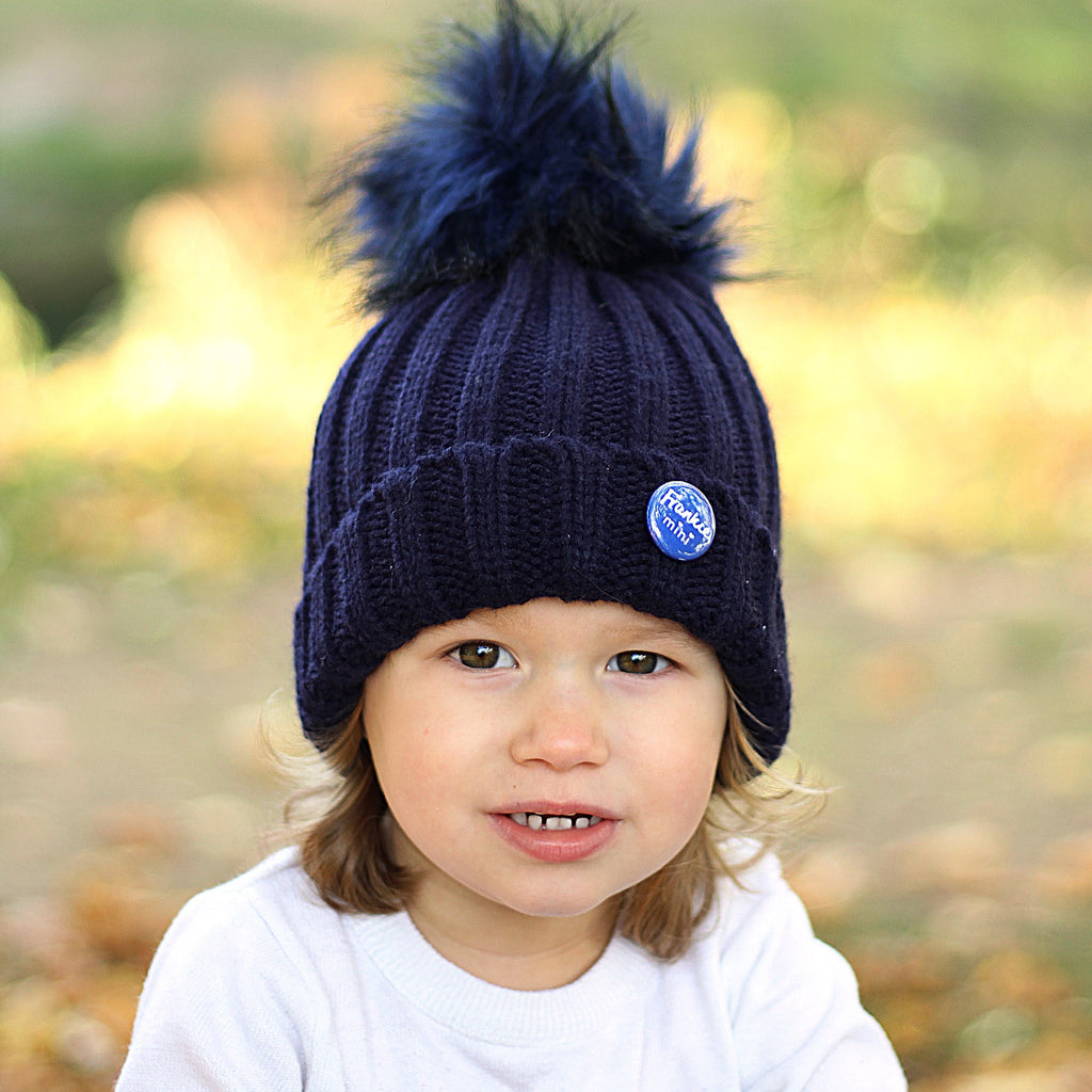 Navy Beanie Hat with Removable Pom Pom - Frankie Mini