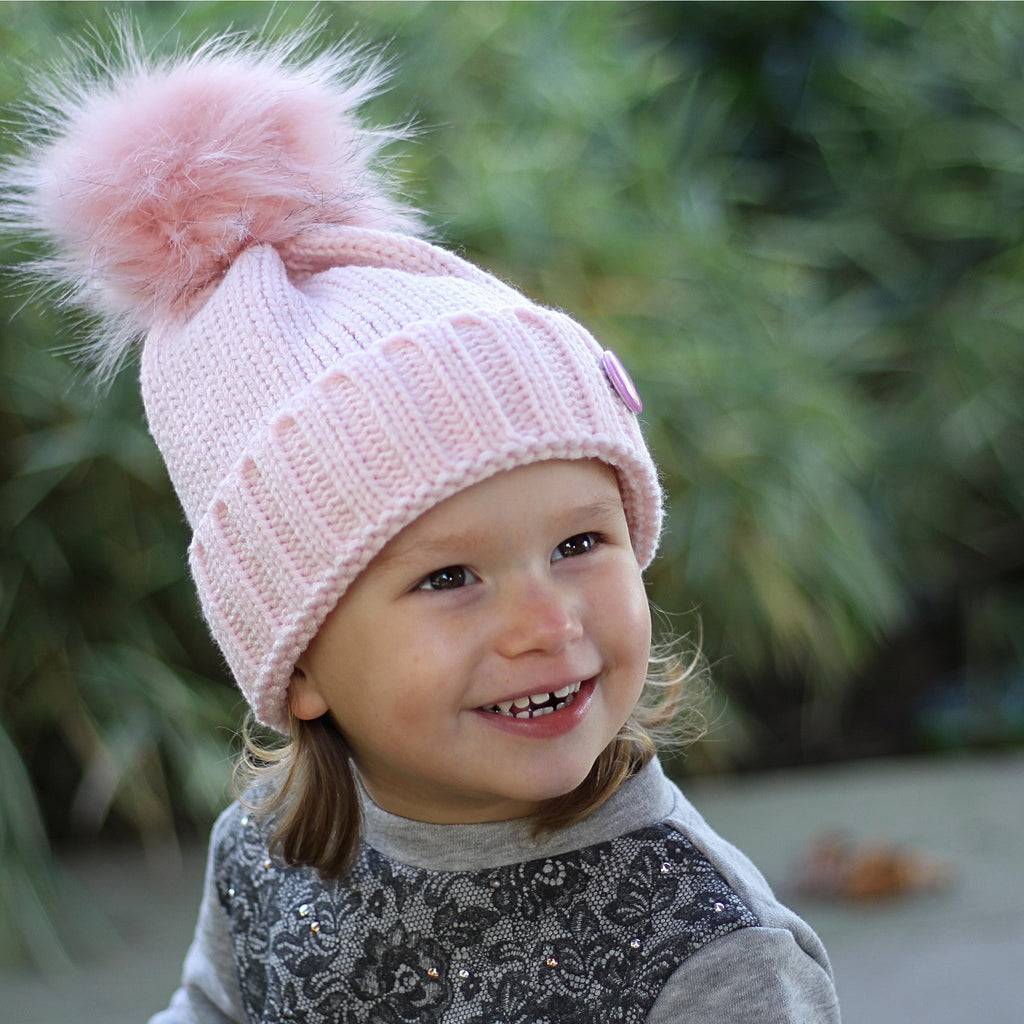 Pink Beanie Hat with Removable Pom Pom - Frankie Mini