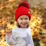Red Beanie Hat with Removable Pom Pom - Frankie Mini
