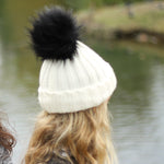 White Beanie Hat with Removable Pom Pom - Frankie Mini