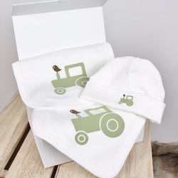 Green Tractor Organic Blanket, Bib and Beanie Gift Set - Molly & Monty