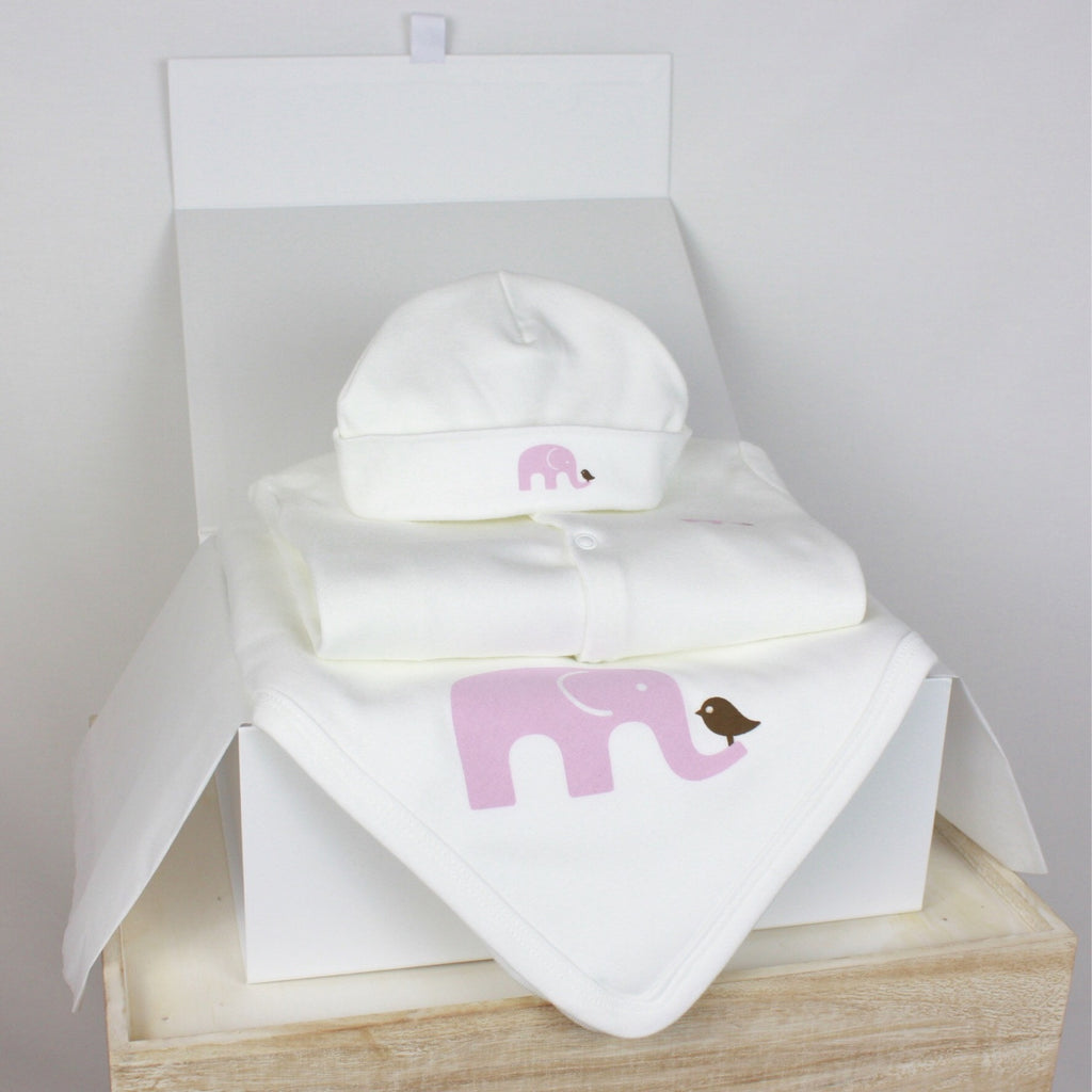 Pink Elephant Organic Starter Pack Gift Set - Molly & Monty