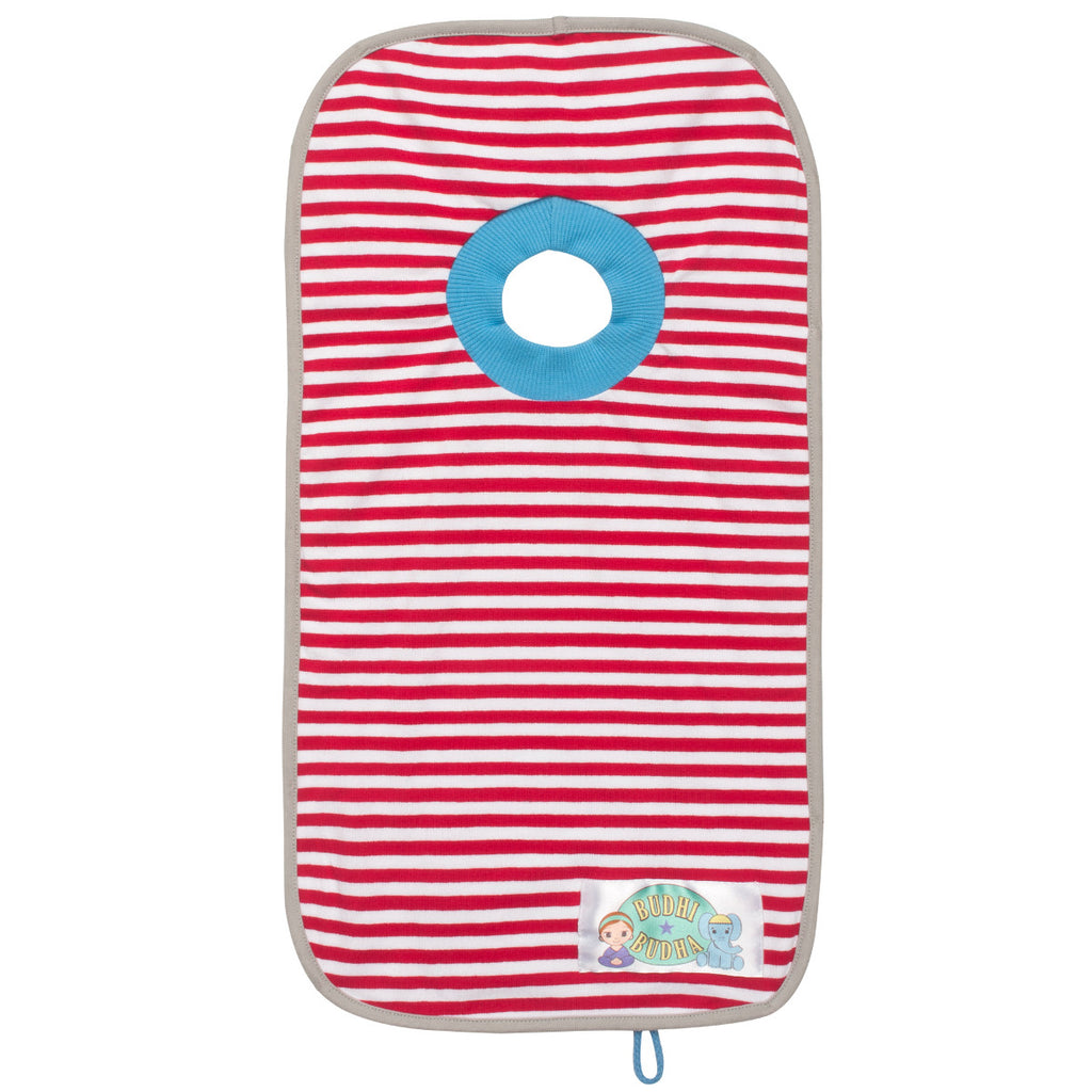 Pullover Bib with carry pouch Red Stripes
