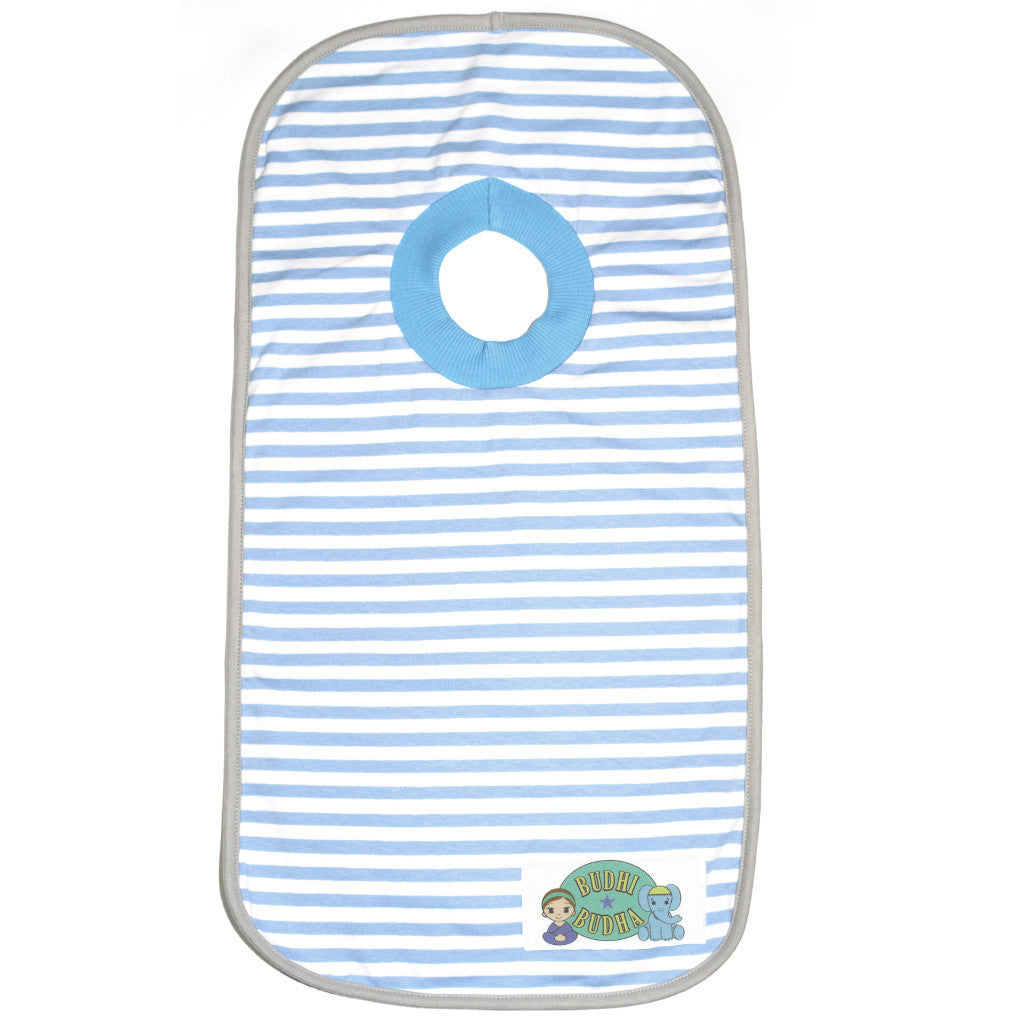 Pullover Bib with carry pouch Blue Stripes - Budhi Budha