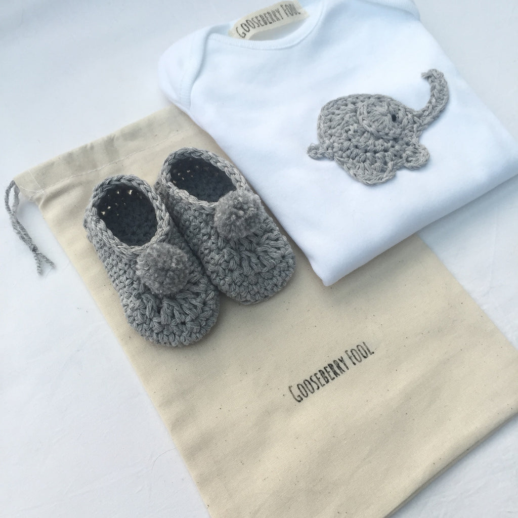 Baby vest and pram shoe gift set - Gooseberry Fool