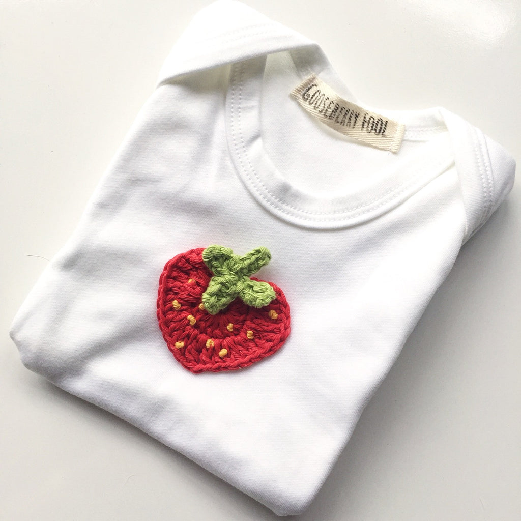 Organic cotton appliqued baby vest - Gooseberry Fool