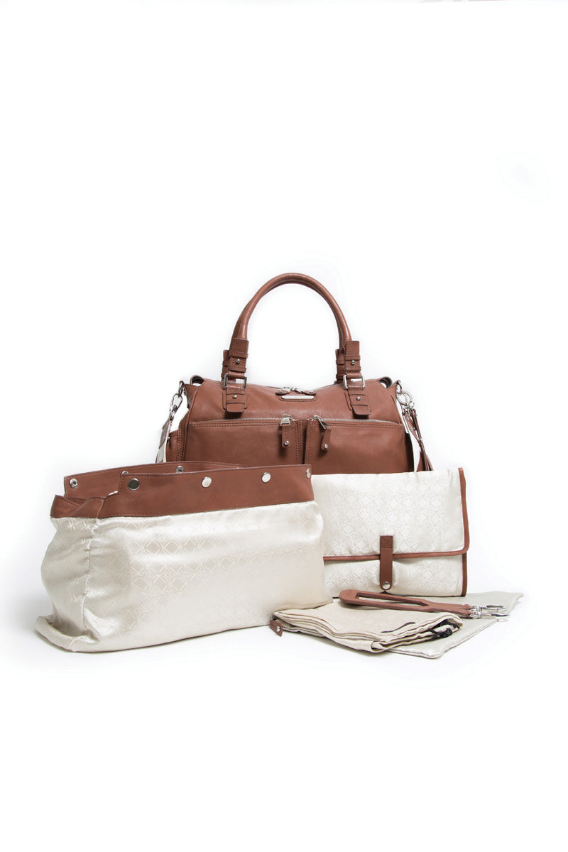 Aryella Cognac Leather Baby Changing Bag - Kerikit - ON SALE £125 OFF!