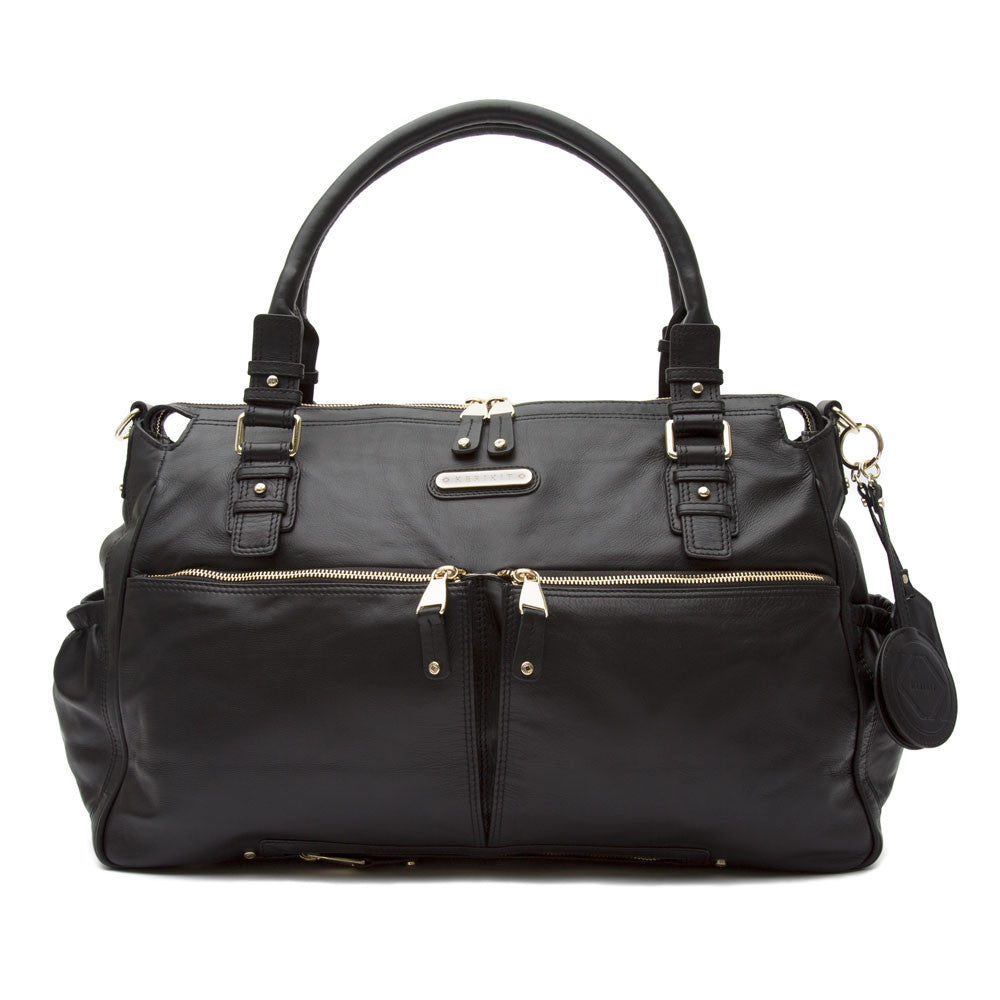 Aryella Large Black Leather Baby Changing Bag - Kerikit - ON SALE £120 OFF!