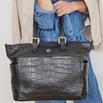 Francis Black Leather Baby Changing Shopper - Kerikit