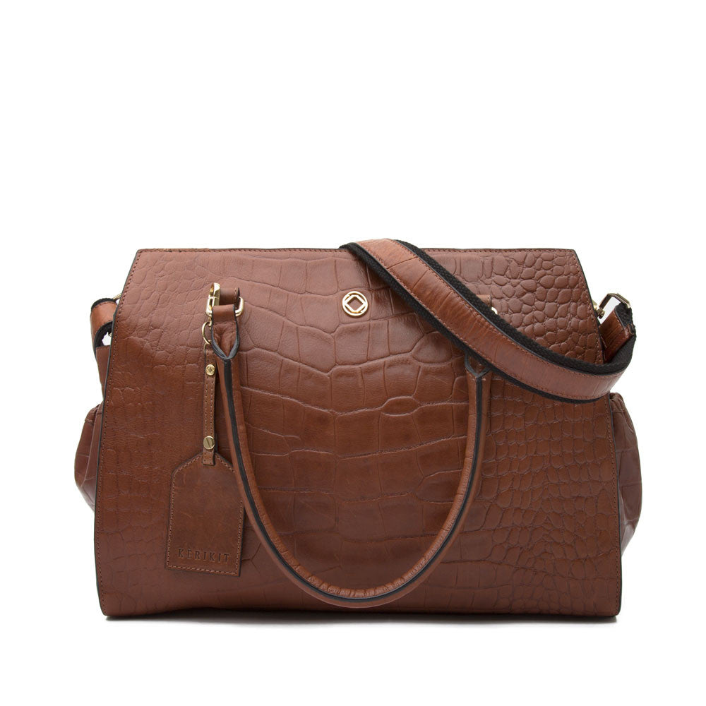 Ivy Tan Brown Leather Baby Changing Bag - Kerikit