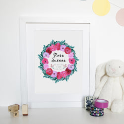 Floral Personalised Baby Name Watercolour Print