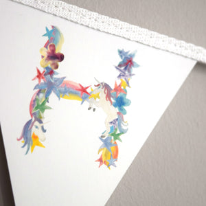 Unicorn Watercolour Name Paper Bunting