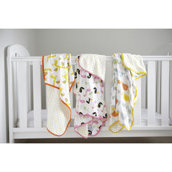 Flamingo & Toucan Large Swaddle Blanket - Panda Ping