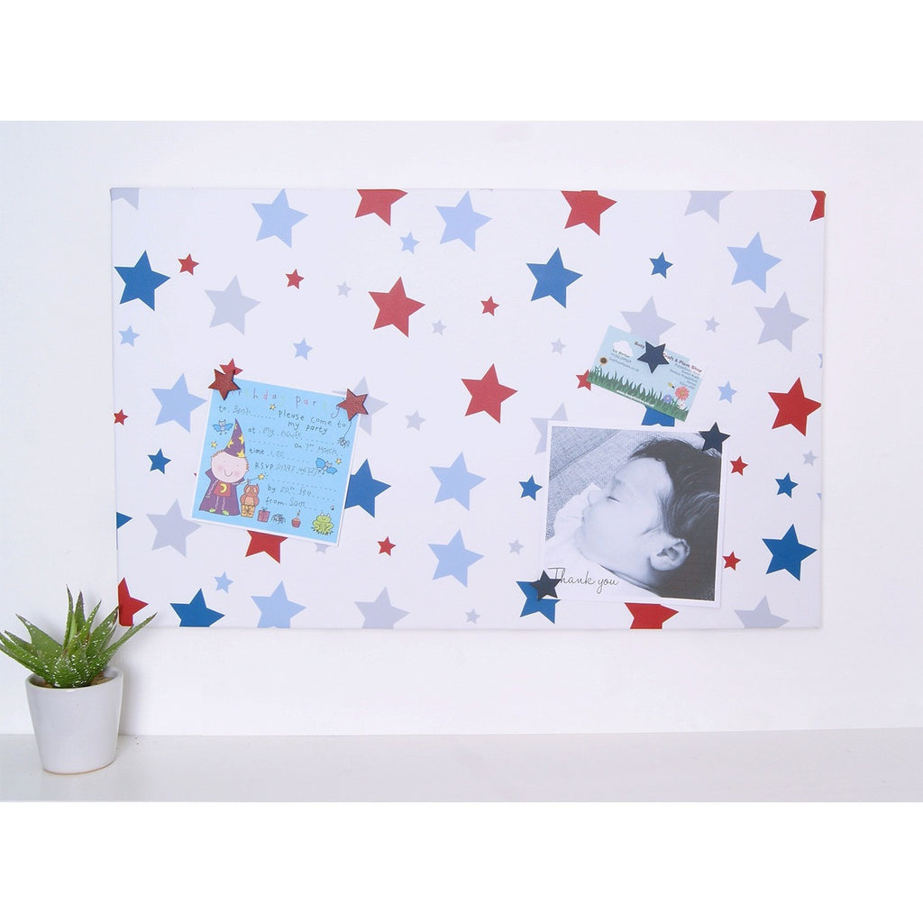 Blue & Red Stars Magnetic Noticeboard - The Magnetic Noticeboard Company
