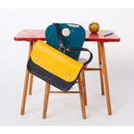 Navy Blue & Sun Yellow Ellison Satchel - Honey & Toast