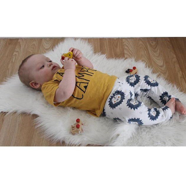 Blue Lion Print Organic Cotton Baby Leggings - Bumbaloo Leggings