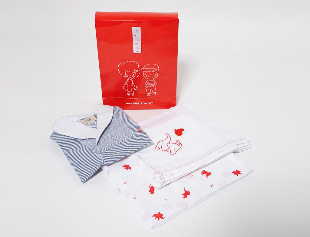 Classic little man striped romper & swaddle gift set - Little Kokoro
