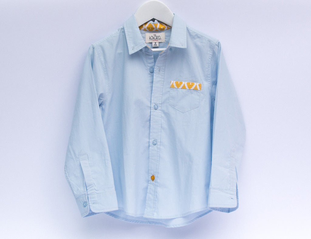 Classic boys blue long sleeved shirt - Little Kokoro