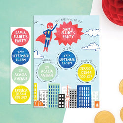 Personalised Superhero Invitations with Sticker Activity - Cotton Twist