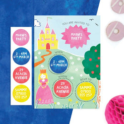 Personalised Princess Invitations With Sticker Activity - Cotton Twist